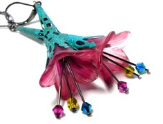 Lucite Trumpet Flower Earrings - Hand painted pink Lily - Turquoise Filigree Cone by LaurenceCollection on Etsy