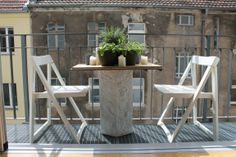 Industrial Style Balcony at Home24 Interior Expert's Home in Berlin - Concrete + Wood