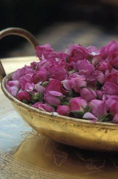 a beautiful bowl of rose buds