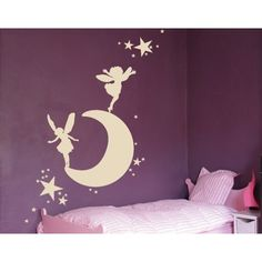 Style and Apply Moon with Elves Wall Decal (16in x 9in )