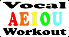 Vocal Warm Up / Vowel Exercise for Singing Lessons - AEIOU Song, via YouTube. ( just use piano and adjust tempo )