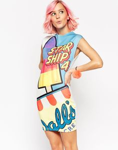 Image 1 of ASOS Walls Mini Dress in Scuba with Glitter Starship Print