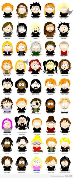 Harry Potter characters in the artistic stylings of South Park