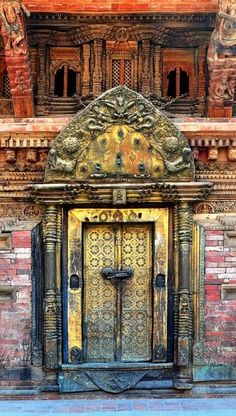 Ornate wooden door in Patan, Nepal