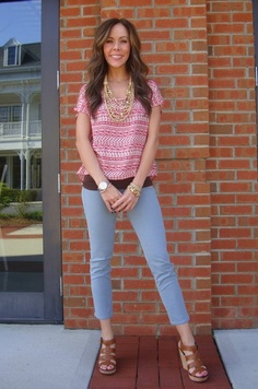 Mayan Ruins Top, 39.99 (sizes S-L)  Strapless Cami, 19.99 (one size)  Necklace, 25  Leather Bracelet, 39.99  !It Jeans Powder Blue Skinny Ankle, $89.99  (sizes 24-30)  DV by Dolce Vita 'Shellie' Wedge, 89.99  (sizes 6-10, whole & half sizes available)