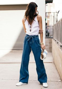 Inspired by a classic sailor silhouette, our high-rise, wide leg Tie-Waist pant in rigid denim features a chic Electrify wash with raw hems and denim belt. Denim Belt, Denim Shirt, Denim Pants Outfit, Loose Jeans, Wide Leg Jeans, Wide Legs, Denim Fashion, Fashion Outfits, Ladies Fashion