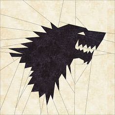 """House Stark sigil FREE paper pieced pattern by Sew Much Mischief.  10"""" block, first of 12 in a Game of Thrones quilt.  Pattern is downloadable from Google Docs or Craftsy."""