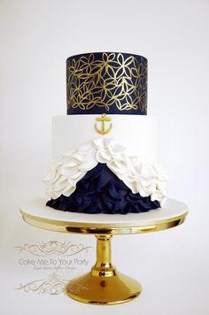 Nautical Engagement/Wedding Cake - Cake by Leah Jeffery- Cake Me To Your Party Nautical Wedding Cakes, Nautical Cake, Nautical Engagement, Long Engagement, Cupcakes, Cupcake Cakes, Pretty Cakes, Beautiful Cakes, Fantasy Cake