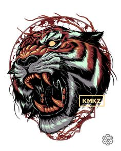 Kamikazee PH on Behance Tigre Tattoo, Lion Tattoo, Tattoo Drawings, Body Art Tattoos, Sleeve Tattoos, Samurai Tattoo, Samurai Art, Tiger Illustration, Graphic Design Illustration