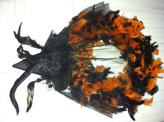 Halloween wreath made with a feathered boa