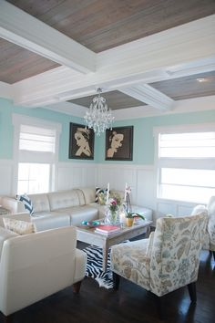 love the coffered ceiling with contrast - stained + white - House of Turquoise: Guehne-Made
