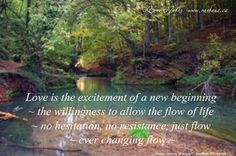 Love is the excitement of a new beginning ~ the willingness to allow the flow of life ~ no hesitation, no resistance, just flow ~ ever changing flow ~