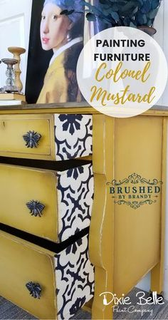 This lovely dresser was painted with Colonel Mustard Chocolate and Buttercream with Clear Coat Flat. The top was stained with No Pain Gel Stain in Walnut and sealed with Gator Hide. Yellow Painted Furniture, Chalk Paint Furniture, Distressed Furniture, Repurposed Furniture, Furniture Projects, Diy Furniture, Painted Dressers, Refinished Furniture, Furniture Plans