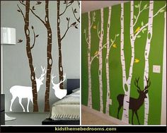 Birch Tree Wall Decal Forest with Snow Birds and Deer Vinyl Stickers