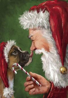boxer dogs Christmas Boxer Dog Painting with Santa, Too Cute