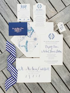 Blue nautical invitations: http://www.stylemepretty.com/2014/05/01/oh-so-classic-nautical-wedding/ | Photography: Erich McVey Photography - http://erichmcvey.com/