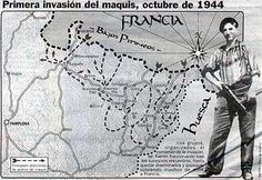 El mapa muestra la invasión maquis de España cerca de las regiones de Navarra