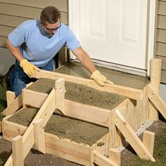 Step-by-step steps: Here's the complete process for laying out, designing and building concrete steps to transition between your patio and a house door.