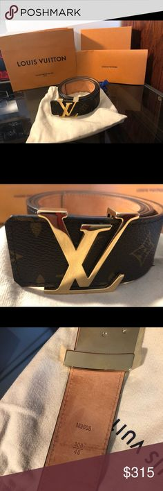 9684e484e255 Men s Louis Vuitton Belt Size 105 CM Gold Buckle Here is a men s Louis  Vuitton belt