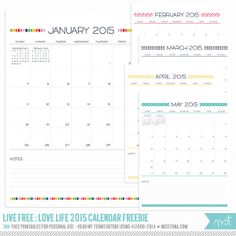 Live Free : Love Life 2015 calendars in layered CU versions in my shop and FREE printables for personal use below! Update: Live Free : Love Life 2016 Calendars have been added too! Free Printable Calendar, Printable Planner, Free Printables, Calendar Templates, Printable Quotes, Party Printables, Handmade Home, Calendar Organization, Organizing