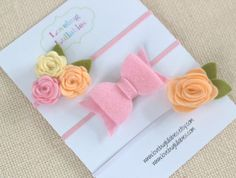 Felt Headband or Hair Clip Set of 3 in Pink, Peach & Cream   ♥♥ Please see shop homepage announcement for current make time ♥♥ An adorable collection of hair accessories that gives a perfect variety of clips or headbands to choose from. Made from a wool felt blend and secured to either skinny elastic headbands or ribbon lined alligator clips.  (1) Large peach rolled rose measuring 1.25. (1) Flower Trio measures approximately 1.75x2 (1) Pink bowtie measures 1.25 x 2.5   ♥♥ HEADBAND SIZES ♥...