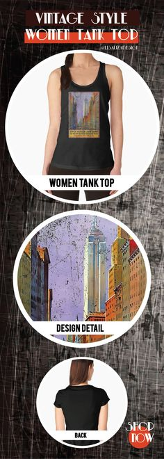 Women's Tank Top Vintage Travel Poster, Aged and Weathered - 5th Avenue New York  Design inspired by vintage travel and advertisements posters from the late 19th century.  (Also available in mugs, shirts, duvet covers, acrylic , phone cases,   kid fashion