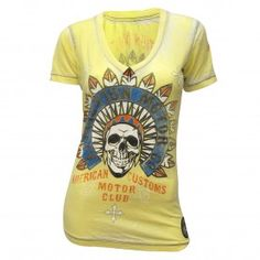 Affliction Women's Yellow Burnout T-Shirt
