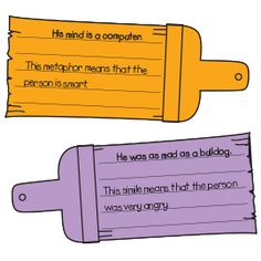 FIGURATIVE LANGUAGE~  Make colorful copies of the paintbrush patterns and store them near your class library, along with containers labeled with the different types of figurative language on which you wish students to focus while reading. Challenge each child to find examples of idioms, similes, metaphors, personification, and hyperbole as she reads. Each time she finds an example, have her fill in a shape, cut it out, and place it in the appropriate container.