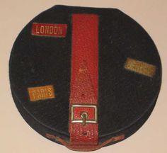 Rare 1930s cloth hat box shape figural vintage compact w strap, leather labels!