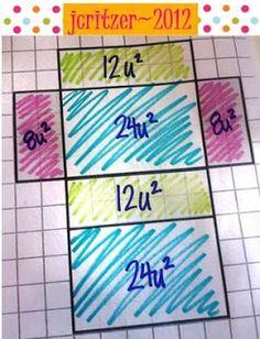 Volume and surface area of Rectangular Prisms foldable Math Teacher, Math Classroom, Teaching Math, Future Classroom, Teaching Tools, Teacher Stuff, Teaching Ideas, Classroom Ideas, Geometry Lessons