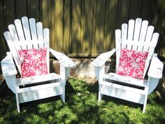 paint adirondack chairs white + outdoor pillows