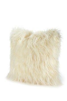 "Signature 18"" Faux Fur Pillow - Ivory Mongolian"