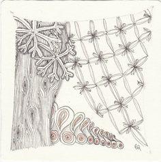 Zentangle from Patterns: Sampson, Tipz, Walp, Grained. Zentangle drawn by Ela Rieger, CZT.