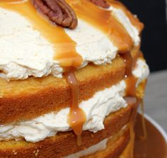 Pumpkin Layer Cake with Fluffy Cream Cheese Filling and Caramel Drizzle. Super easy to make and sounds fantastic!!