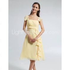 A-line Straps Short Sleeve Knee-length Chiffon Bridesmaid Dress