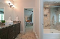 Hellyer Custom Builders new construction home in Naperville - Jack and Jill Style Bathroom Bathroom Kids, Master Bathroom, Bathrooms, Jack And Jill Bathroom, Custom Builders, Bathroom Styling, Guest Bath, New Construction, Mirror