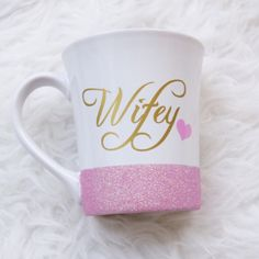 Wifey Personalized Coffee Cup//Glitter Dipped Coffee Mug//Stoneware... ($22) ❤ liked on Polyvore