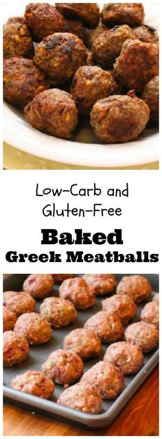 Low-Carb Baked Greek Meatballs with Feta and Oregano (Video) I'm crazy about these Low-Carb and Gluten-Free Baked Greek Meatballs. (In the summer I bake them in a toaster oven so it doesn't heat up the house. Greek Recipes, Paleo Recipes, Low Carb Recipes, Meat Recipes, Cooking Recipes, Greek Meatballs, Albondigas, Foods With Gluten, Gluten Free Baking