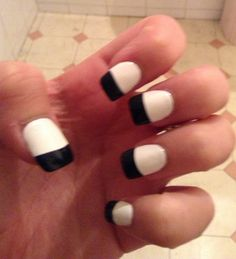White nails with black tips