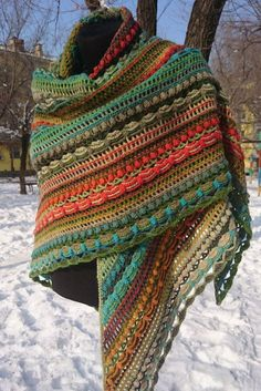 wool shawl Lost in Time big colorful stripes winter shawl Dundaga yarnLost in Time Shawl Excellent wool shawl Exclusive thing, identical repetition is impossible Dundaga yarn - wool - exceptionally warm big size - 225 x 105 sm Poncho Au Crochet, Crochet Shawls And Wraps, Crochet Scarves, Crochet Clothes, Knit Crochet, Shawl Patterns, Knitting Patterns, Crochet Patterns, Yarn Projects