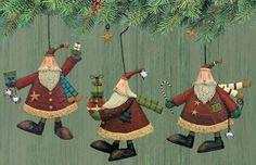 Traditional Santa Folk Art Ornaments Set of Three Williraye Studio