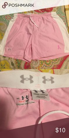 Under Armour Medium Heat Gear Shorts Light pink Under Armour heat gear running shorts. Size medium. Breast cancer awareness edition. Like new! Under Armour Shorts