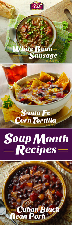 Warm up this winter with a homemade soup featuring S&W Beans! Easy Bean Recipes, Black Bean Recipes, Chili Recipes, My Recipes, Cuban Black Beans, No Bean Chili, Homemade Soup, Kidney Beans, Dinner Is Served