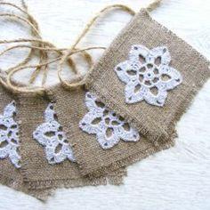 Crochet & Burlap Holiday Garland -Etsy.com/NatkaLV This would be fun to make!