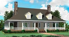 1 Story 3 Bedroom 2 Bath Country Farmhouse Style House Plan Featuring Appealing Wrap Around Porch