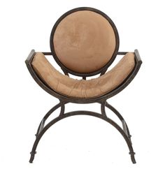Contemporary Upholstered Metal Curule Chair : EBTH