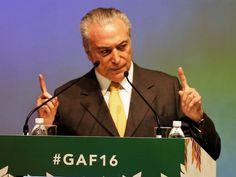 O presidente da República em exercício, Michel Temer, discursa durante o Fórum Global do Agronegócio, realizado em São Paulo (SP) - 04/07/2016