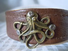 Antiqued Octopus Recycled Leather Cuff Bracelet by TimeFound, $10.00