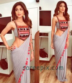Shilpa Shetty Kundra gives us some major sari goals by her aesthetic sari sense and style. Here are the top five of her sari looks which are must in Sari Design, Saree Blouse Patterns, Saree Blouse Designs, Emma Roberts, Victoria Beckham, Jessica Parker, Stylish Blouse Design, Blouse Back Neck Designs, Saree Trends