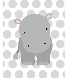 Hippo Nursery Decor Hippo Canvas Nursery Wall Art Nursery